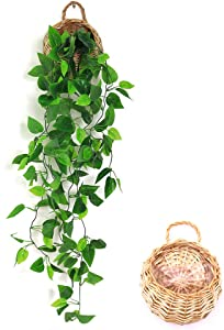 ANZOME Artificial Hanging Plants, 3.5ft Ivy Vine Fake Leaves Green Chain for Indoor Outdoor Wall Home Room Garden Wedding Garland Decoration(Basket Included)