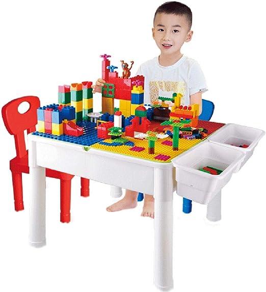 Mesa de Juego Mesa De Bloques para Niños Mesa De Juego Multifunción Montaje De Juguetes Educativos Mesa De Estudio para Niños Regalo para Niños (Color : Color, Size : 51 * 51 * 44cm): Amazon.es: Hogar