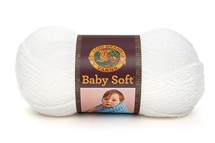 1bae86982ea Amazon.com  Lion Brand Babysoft Yarn (200) White Pompadour
