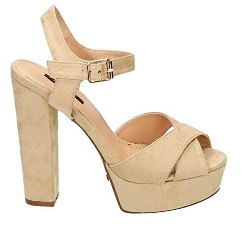 Higher-Heels - Tira de tobillo de material sintético mujer, color beige, talla 38