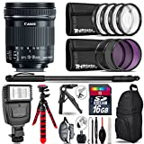 Canon 10-18mm IS STM Lens + Flash + UV-CPL-FLD Filters + Macro Filter Kit + 72'' Photo/Video Monopod + Table-Top-Tripod + 16GB Class 10 Memory Card + Backpack - International Version