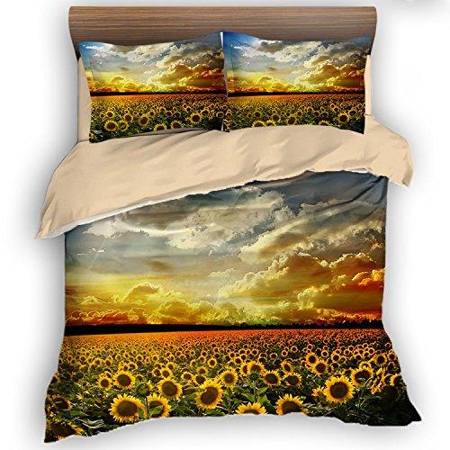 FAITOVE Sunflower Sunset on The Beach 3 Piece Bedding Set 264cm X 228cm Duvet Cover Set 2 Pillowcases 100% Microfiber, King Size