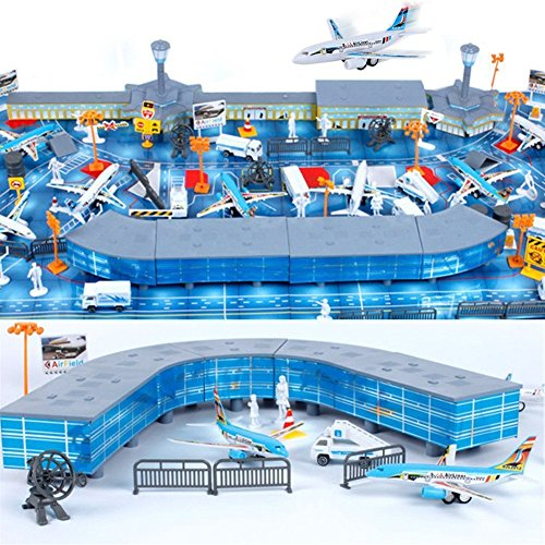 Kit Airport - 200 Pieces Aircraft Model Playset Airport Assembled Toys for Kids Gift