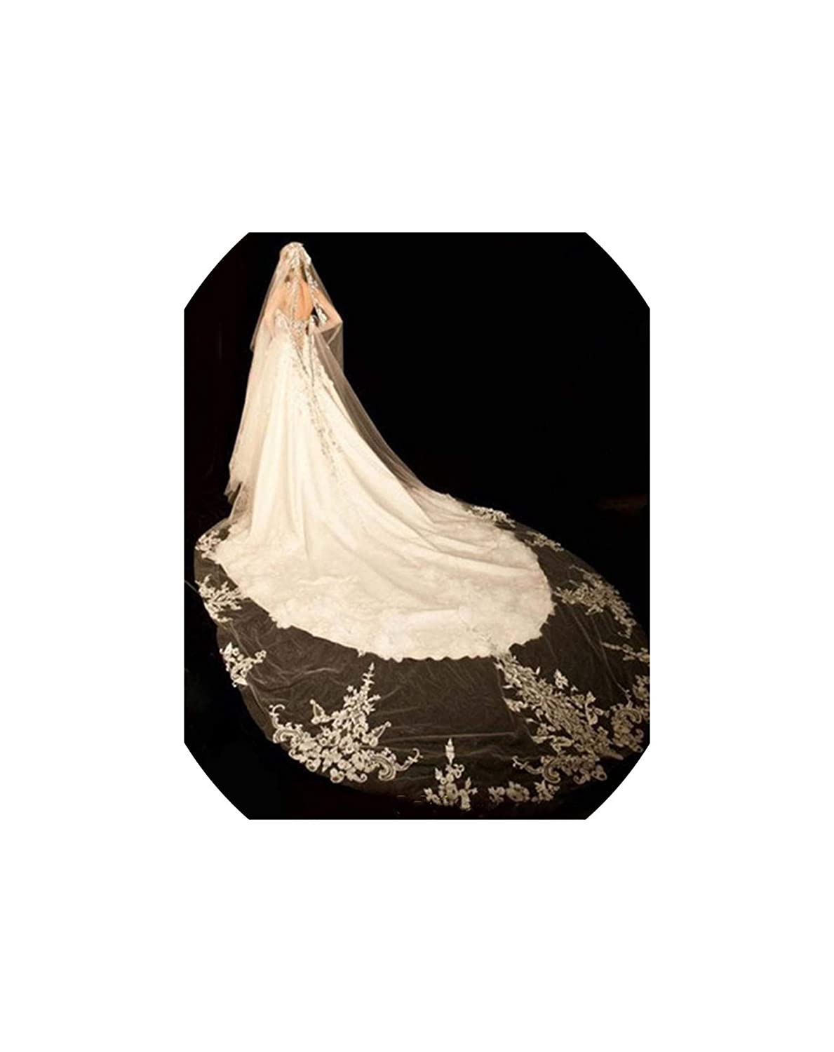 White 1 Layer Bridal Cathedral Wedding Veil With Applique Cryal Comb White Ivory Bridal Veil Wedding Accessories,White,500cm