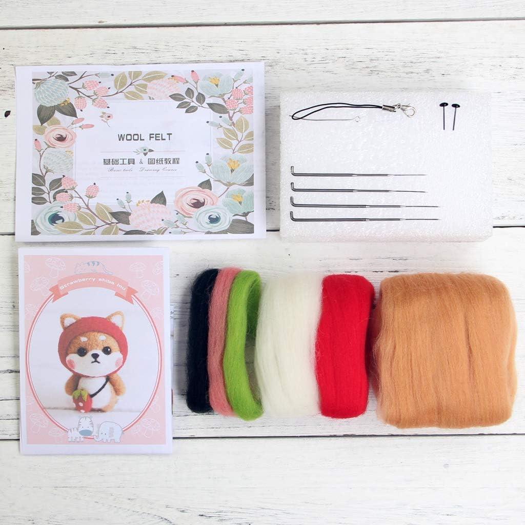 High Grade Wool Needles Mat LoveinDIY Needle Felting Starter Kit for Beginners Shiba Inu Dog Felt Crafts Kit Instructions Finger cot