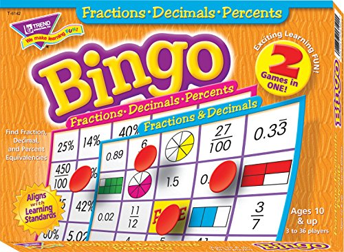 Fractions, Decimals, & Percents Bingo Game