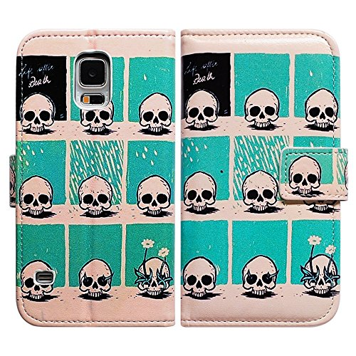 Bfun Packing Bcov Flower Grow in Skull Leather Wallet Cover Case for Samsung Galaxy S5 GS5