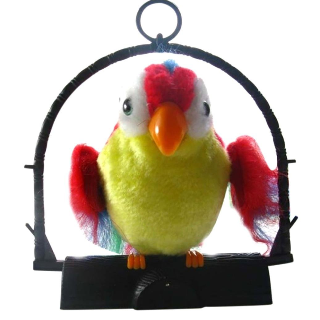 Electric Learning Speech Recording Parrot,Mamum Waving Wings Talking Talk Parrot Imitates & Repeats What You Say Gift Funny Toy