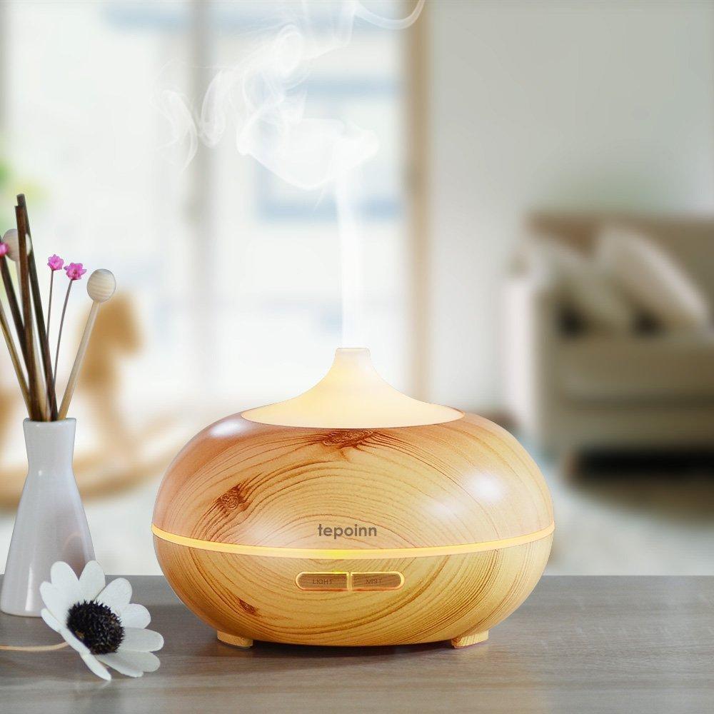 Tepoinn Diffusore per aromi/umidificatore a ultrasuoni, con venature, 300 ml, con Luce LED cangiante, da Usare con Oli Essenziali per aromaterapia (Wooden)