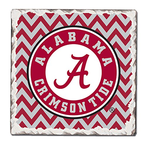 CounterArt Set of 4 Absorbent Tumbled Tile Coasters, Alabama Crimson - Tide Natural Alabama Crimson