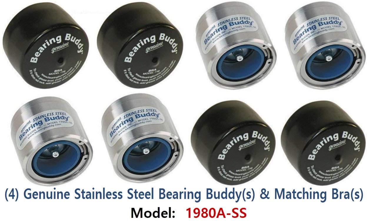 Bearing Buddy (4) 1.980 Boat Trailer Genuine Stainless Steel with Protective Bra & Auto Check Wheel Center Caps 1980A-SS 42204 (2 Pairs) by Bearing Buddy