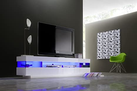 Dreams4home tv lowboard rubben bianco lucido con led illuminazione