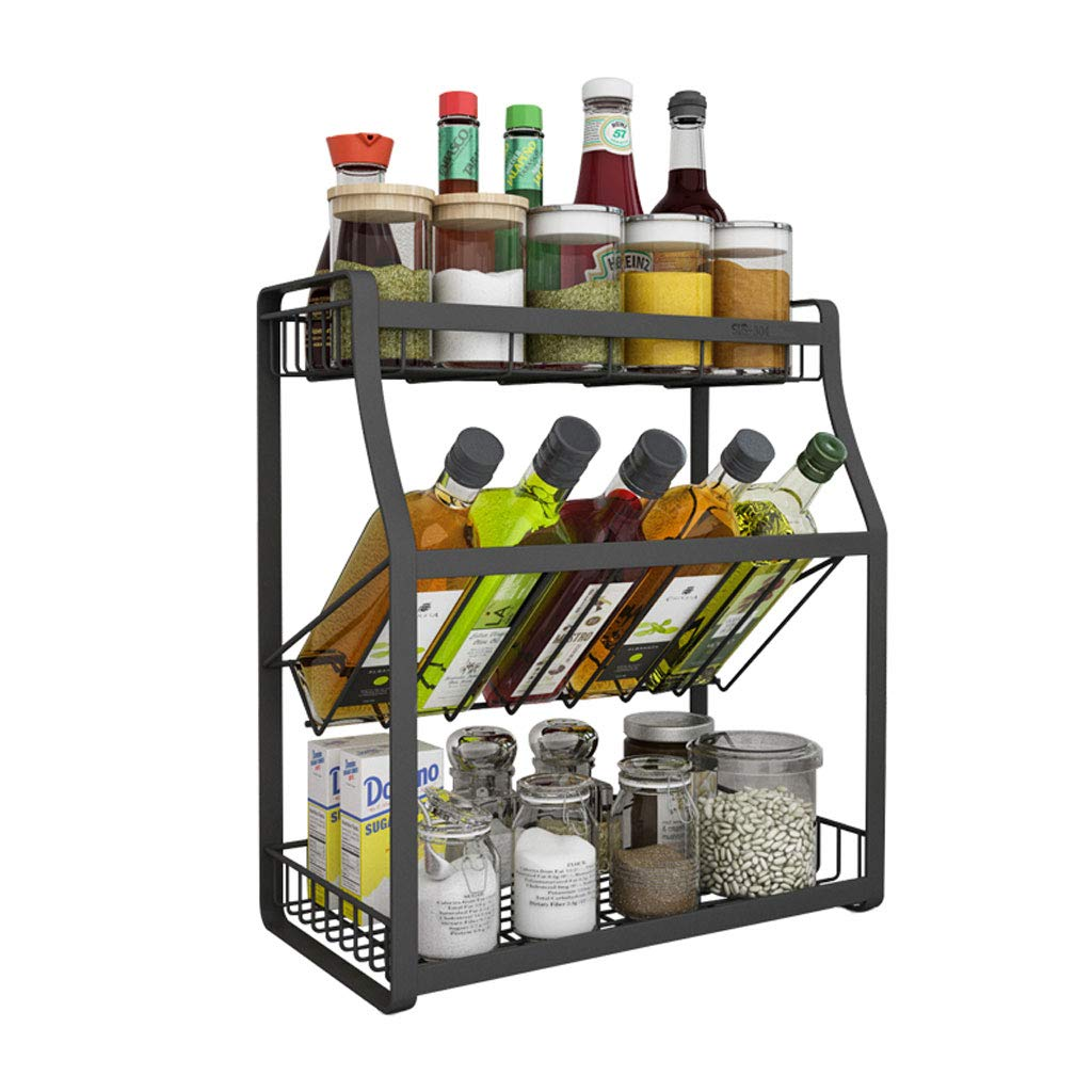 WXL Stainless Steel Spice Rack Kitchen Countertop Three-layer Condiment Storage Racks Seasonings WXLV