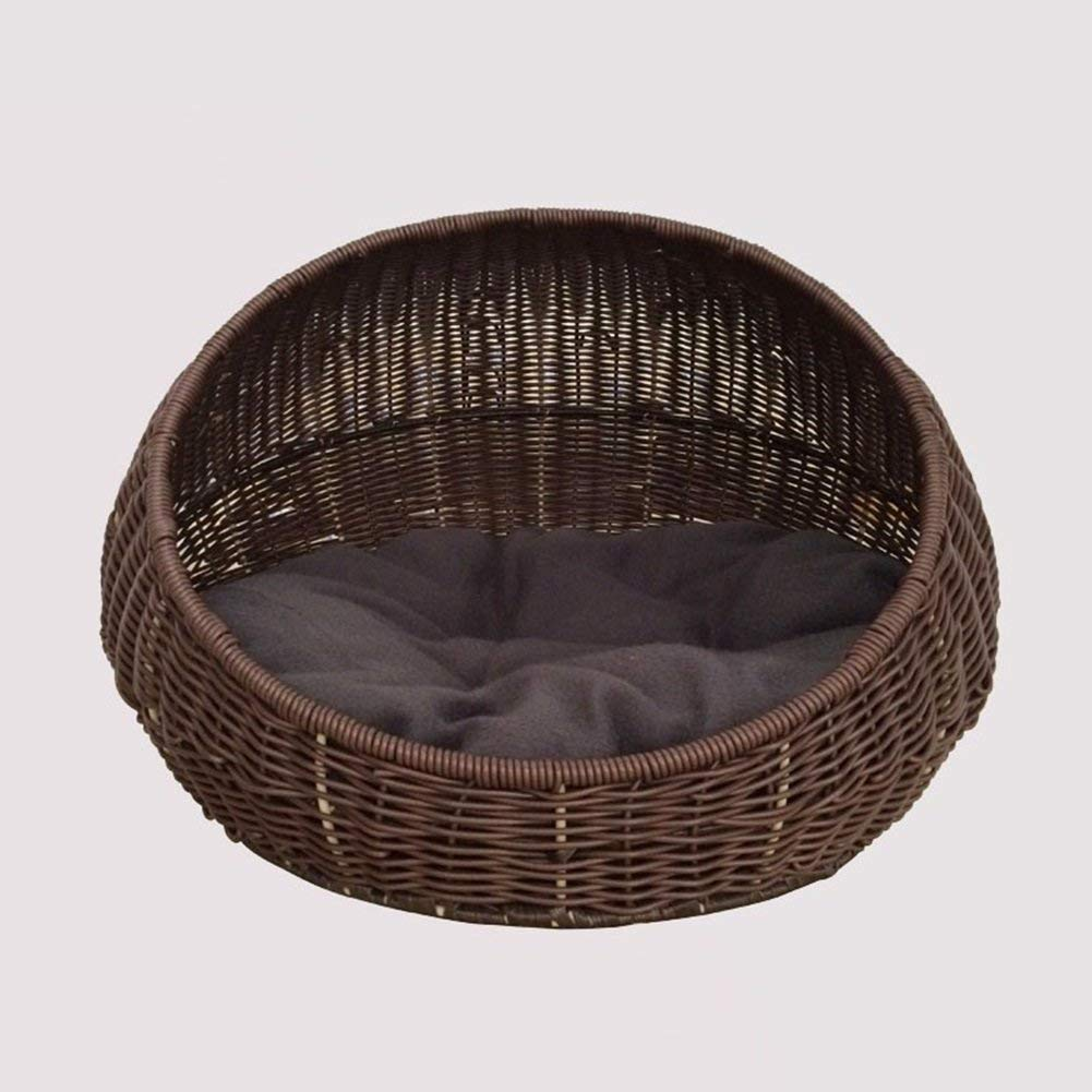 Brown HeiPlaine Pet Sofa Cat Bed House Round Rattan Hand-woven (color   Brown)