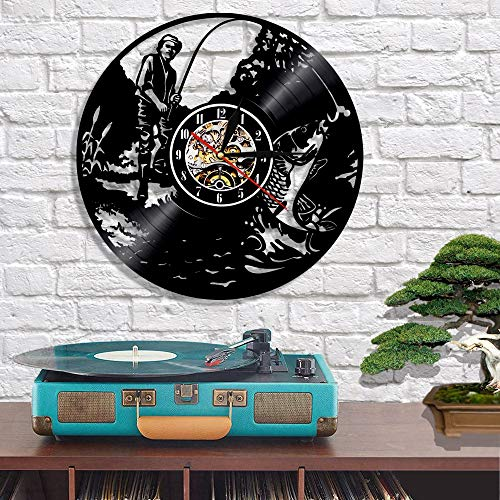 WJ 1 Man Fishing Vinyl Record Wall Clock Floating Fish Home Decoration Wall Art time Creative