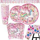 82 Piece Unicorn Party Supplies Set Including Banner, Plates, Cups, Napkins and Tablecloth - Pink Theme, Serves 20