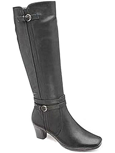 Ladies FLB471 Manfield Black PU Buckle Faux Leather Tall Smart Calf Knee  High Zip Casual Block