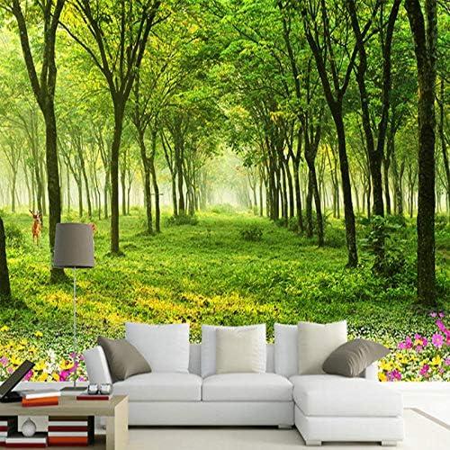 Ansyny カスタム任意のサイズの壁画壁紙3D自然風景グリーンツリー写真壁紙リビングルームテレビソファ背景壁壁画装飾-300X200CM