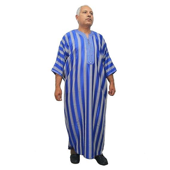Chilaba, djelaba o caftán de satén Azul con Gris para Caballero, Muy cómoda, Mide de sisa 65 cm y 145 cm de Largo: Amazon.es: Ropa y accesorios