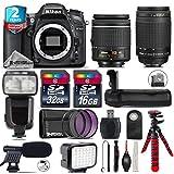 Holiday Saving Bundle for D7100 DSLR Camera + AF 70-300mm G Lens + AF-P 18-55mm + Flash with LCD Display + Battery Grip + Shotgun Microphone + LED Kit + 2yr Extended Warranty - International Version