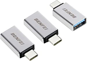 USB C to USB 3.0 Adapter 3 Pack,Benfei USB C to A Male to Female Adapter, Compatible with MacBook 2018 2017 2016, Samsung Galaxy Note 8, Galaxy S8 S8+ S9, Google Pixel, Nexus, and More - Silver