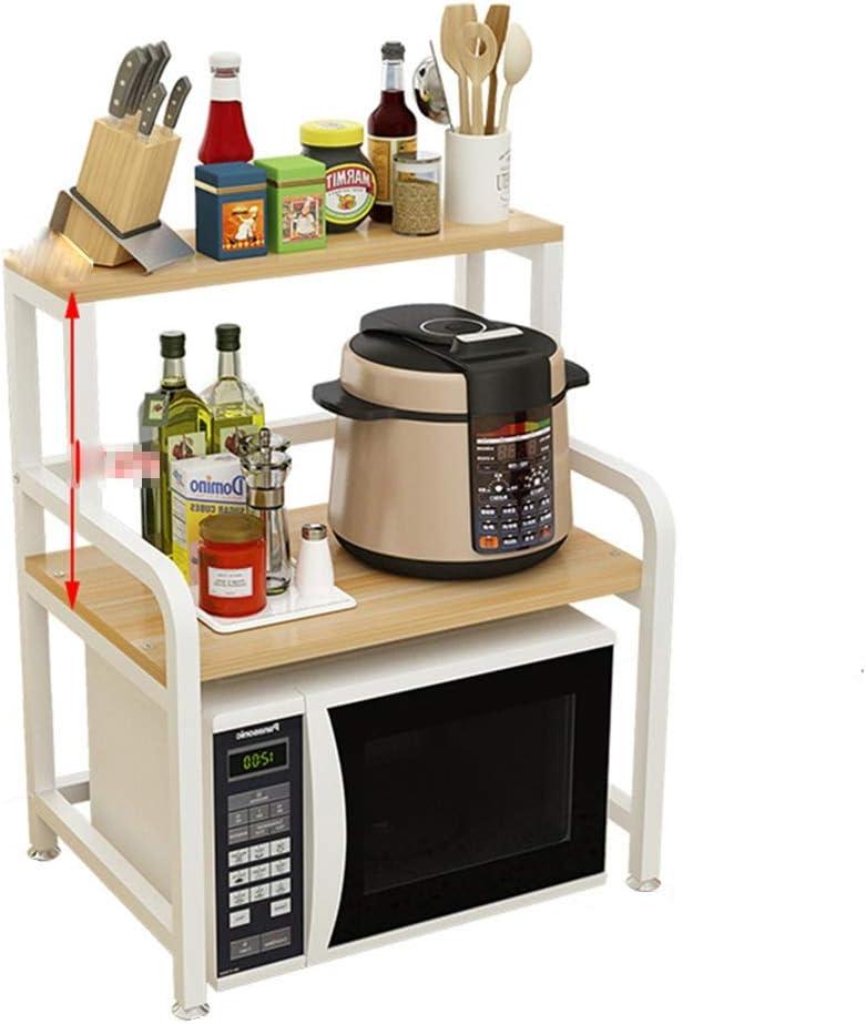 キッチンラック 耐久性に優れたオーブン電子レンジ2ティアストレージシェルフキッチン棚ユニットをラック多機能収納スパイスワークステーション主催 器具収納 (Color : Natural, Size : 69.5X42.5X35CM)