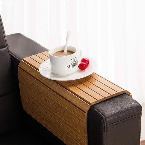 GEHE - Bandeja de bambú para sofá y reposabrazos, Flexible ...