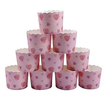 webake Envoltura de la Torta envolturas de la Magdalena moldes papel para magdalenas decoración de la Magdalena Cup Holder Torta de 25 Piezas Corazon rosa: ...