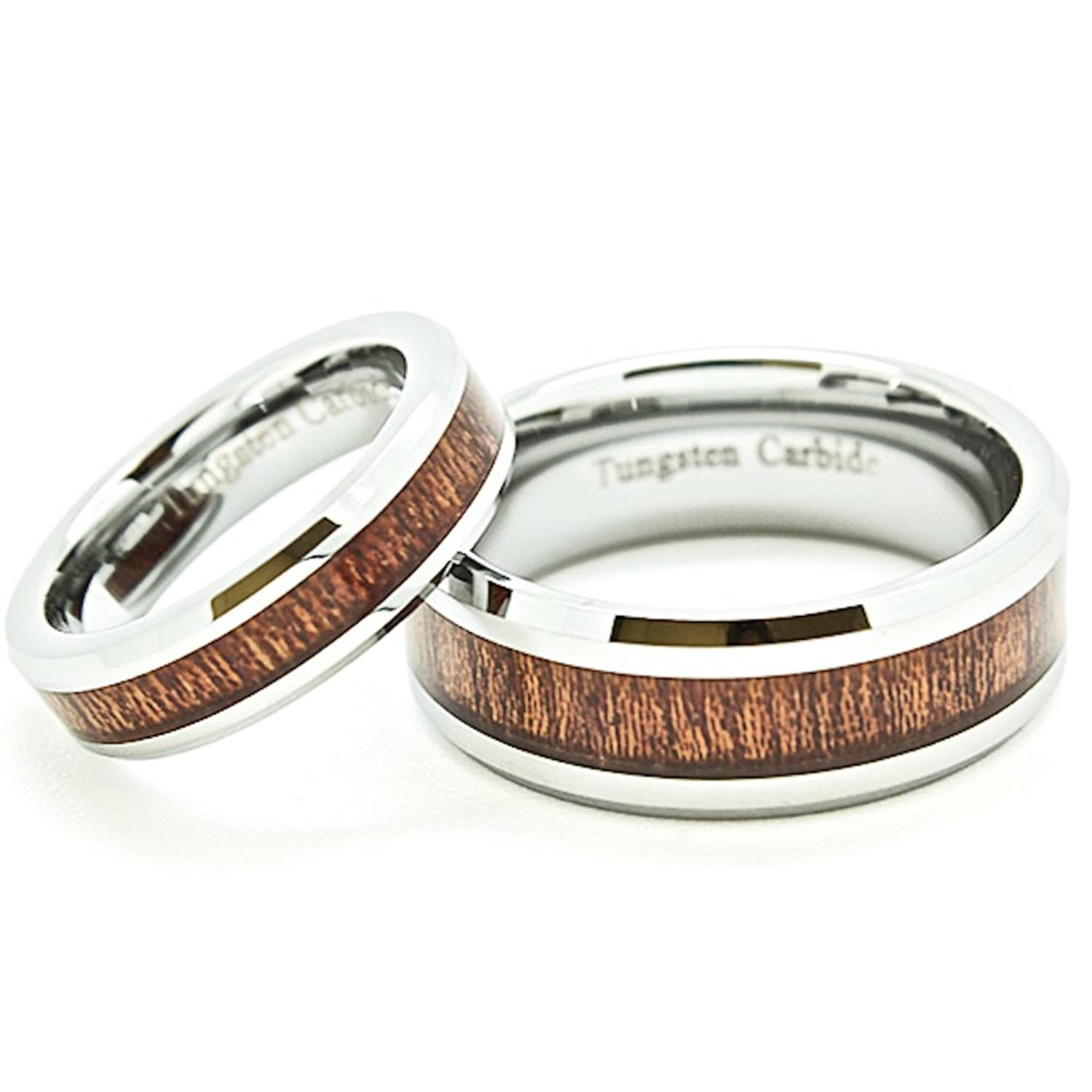 Amazon Matching 5mm & 8mm Tungsten Wedding Rings with Wood