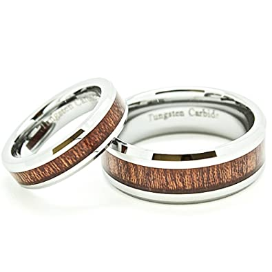 matching 5mm 8mm tungsten wedding rings with wood grain inlay see listing for sizes - Tungsten Wedding Rings