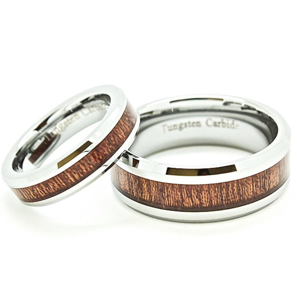 Matching 5mm & 8mm Tungsten Wedding Rings with Wood Grain Inlay (See listing for sizes)