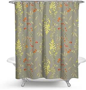 KISY Cortina de Ducha de Tela, diseño de Hojas de otoño, Paisaje Natural, decoración de baño, Cortina de Ducha Pesada, 70 x 70 Pulgadas, Retro: Amazon.es: Hogar