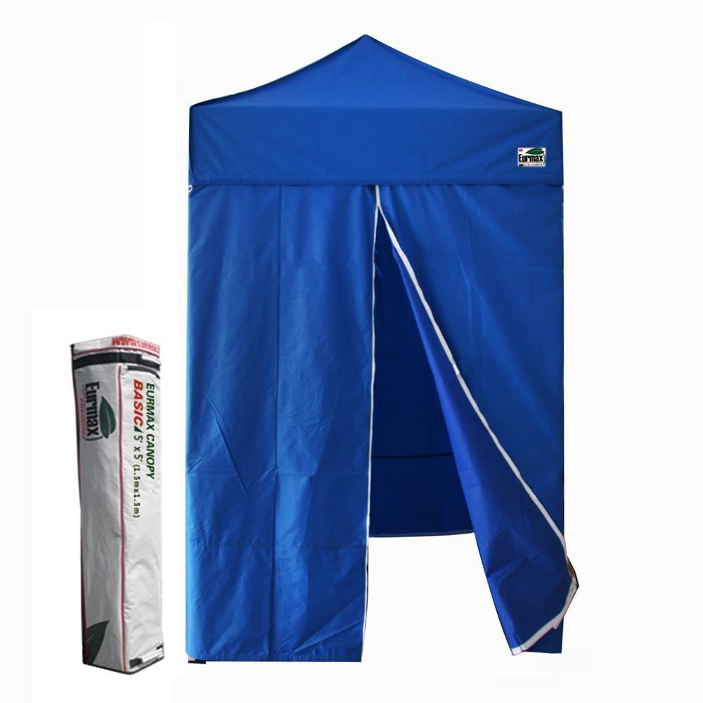 Basic 5x5 Pop up Canopy Tent Gazebo W/4 Zipper Side Walls & Carry Bag, Blue