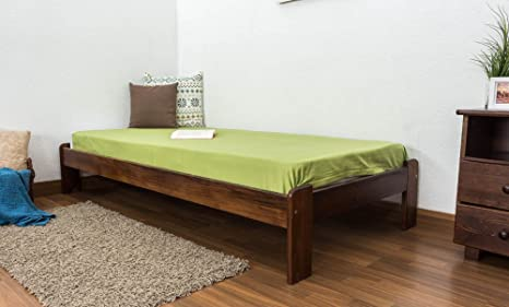 Cama futón madera de pino maciza en color de nogal A10, incl ...
