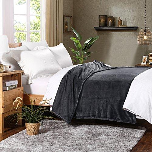 Plush Bed Blanket Dark Purple King Size