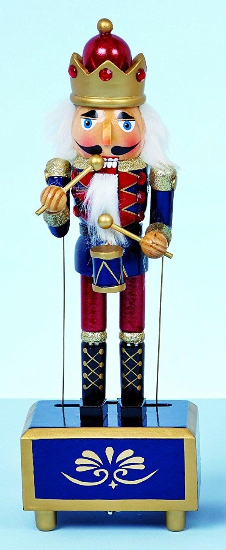 30cm Wind Up Christmas Nutcracker Music Box (Blue) - Festive Decorations Toyland®