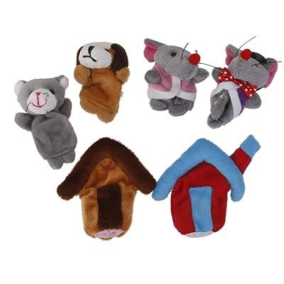 6pcs Conjunto Marionetas de Dedo Juego de Niños Peluche Ratón de Campo Ratón de Ciudad Multicolor: Juguetes y juegos