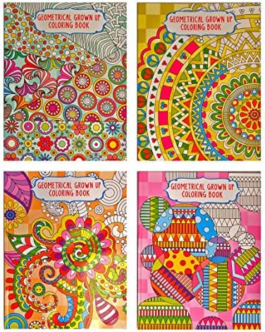 Set of 4 Vision St Adult Coloring Books Geometrical Grown Up 32 Page Coloring Books (You Get 4 Different Books)