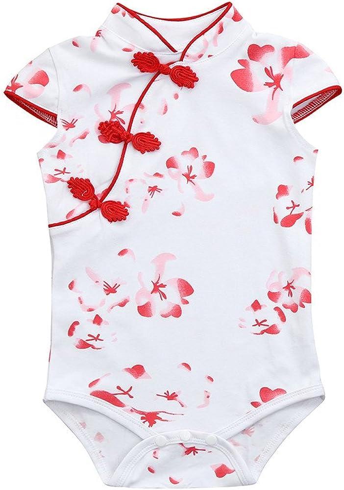 Feitengtd 2019 Toddler Baby Girls Rose Flower Print Sleeveless Cheongsa Chinese Style Rompers