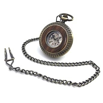 Bronze Tone Wood Circle Hollow Case Roman Number Dial Hand Wind Mens Mechanical Pocket Watch w