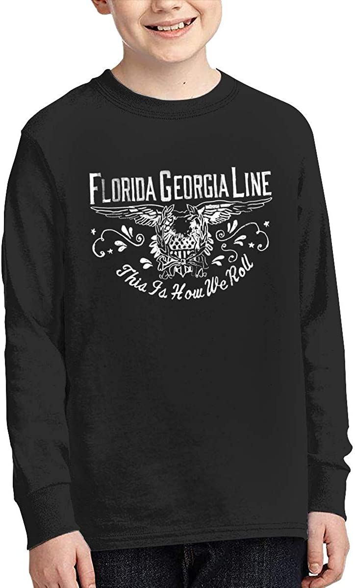 MichaelHazzard Florida Georgia Line Tour 2019 Youth Comfortable Long Sleeve Crewneck Tee T-Shirt for Boys and Girls