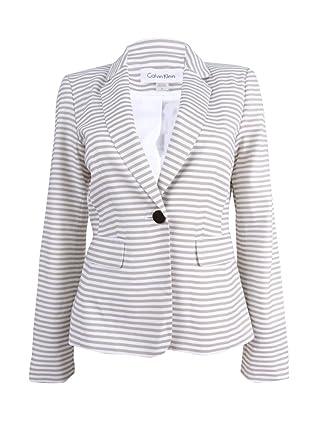 61ea18e60e Calvin Klein Women s Petite Single-Button Striped Blazer (8P