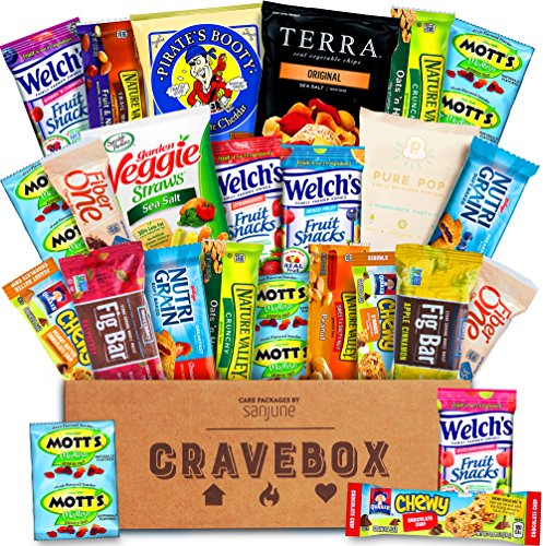 CraveBox - The Healthy - Variety Assortment Bundle of Fruit Snacks, Granola Bars, Popcorn, Veggie Chips, and More!! (25 Count)