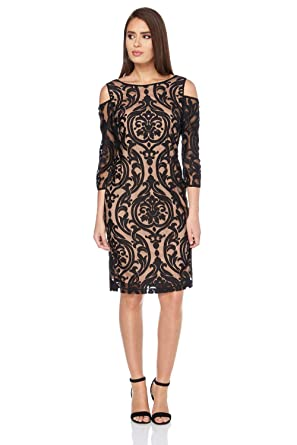 1475ccdbe1 Roman Originals Women's Velvet Lace Cold Shoulder Little Black Dress LBD -  Black - Size 20