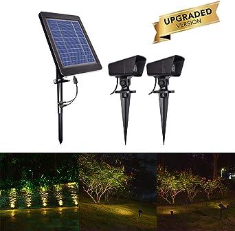 OurLeeme 4W Focos solares para jardín, encendido/apagado automático de Dusk to Dawn con 2 focos blancos cálidos a prueba de agua para el jardín de jardín al aire libre (Forma 2): Amazon.es: