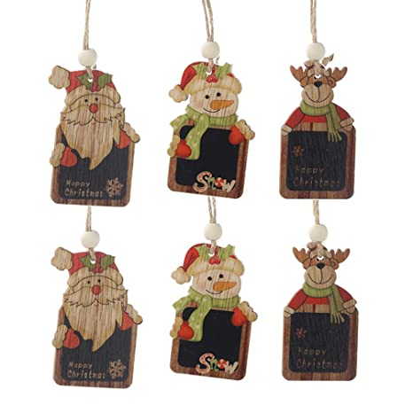 Amosfun 6 Piezas Navidad Pizarra de Madera Alces Santa Claus ...