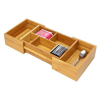 Woodquail Pequeño Ampliable Ajustable de Ahorro de Espacio cajón para Organizador, cubertería Cubiertos Bandeja.