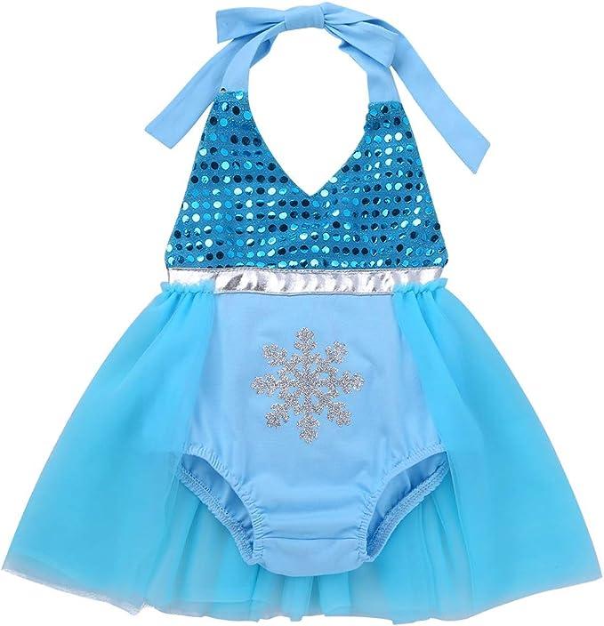 Alvivi Mameluco Bebe Princesa Ropmper Vestido Cuello Halter ...