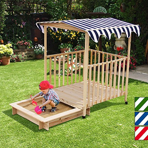 Sandkasten-mit-Veranda-verschiebbar-Holz-Spielhaus-mit-Dach-115x115x140cm-Farbwahl