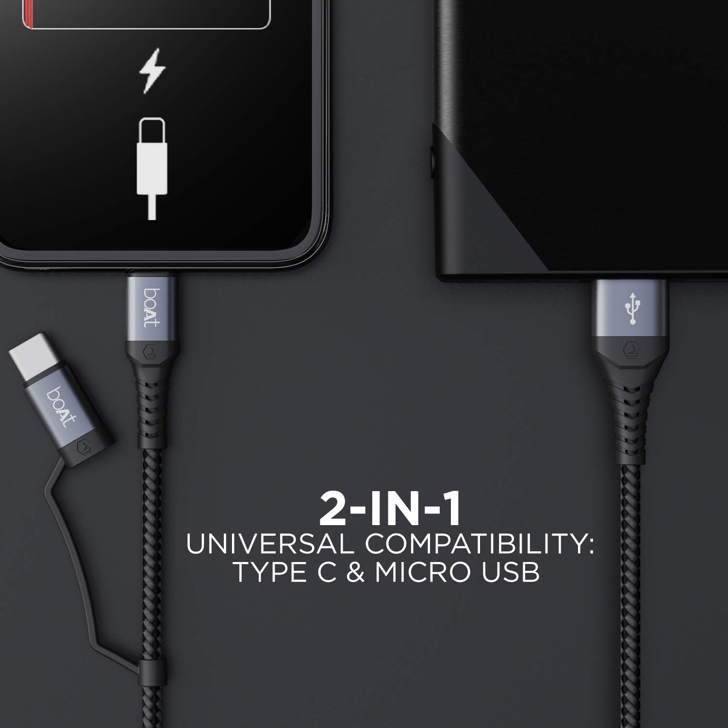 Boat Deuce Usb 300 2 in 1 Fast Charging Cable Launched in India